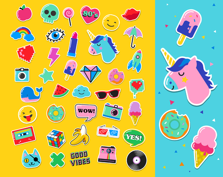 character cartoon: Pop art fashion chic patches, pins, badges, cartoons and stickers Illustration