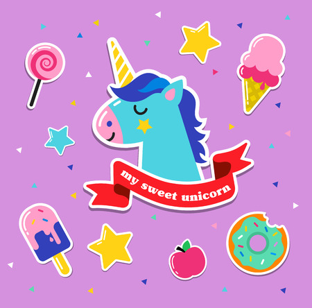 kids fun: Pop art fashion chic patches, pins, badges, cartoons and stickers Illustration