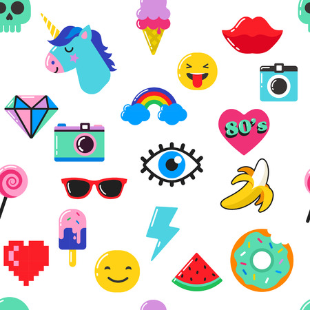 Pop art fashion chic seamless pattern with patches, pins, badges, icons and stickers Vettoriali