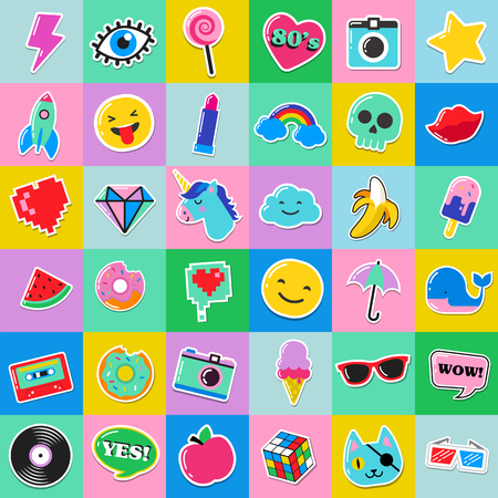 patches: Pop art fashion chic patches, pins, badges, cartoons and stickers Illustration