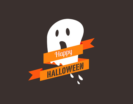 Halloween greeting card, poster, banner and background with ghost
