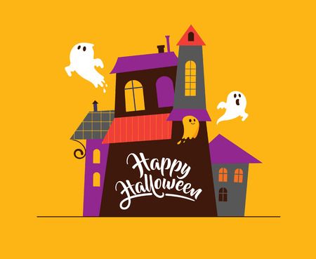 Halloween greeting cards - haunted house, ghosts background, poster, banner Illustration