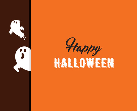 Halloween greeting card, poster, lettering and background with ghost