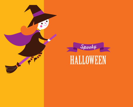 Halloween greeting card, poster, lettering and background with little cute witch Illustration