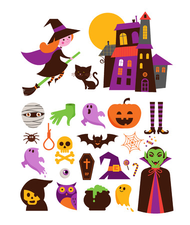 Halloween - collection of cute vector icons