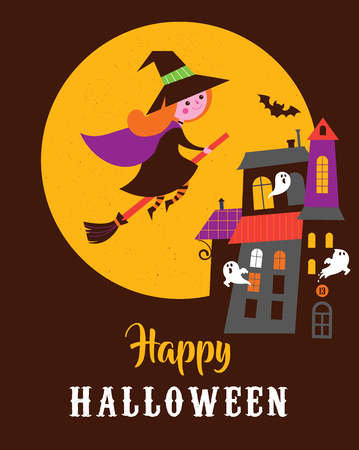 Halloween cute vector greeting cards, posters, banner with witch and haunted house, castle Illustration
