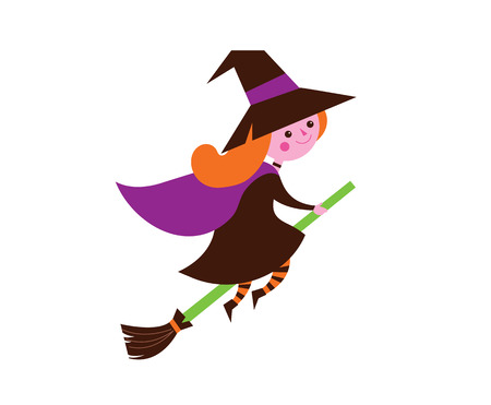 Halloween cute vector greeting cards, posters, banner with little cute witch Illustration