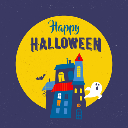 cute house: Halloween cute vector greeting cards, posters, banner with ghosts, and haunted house, castle