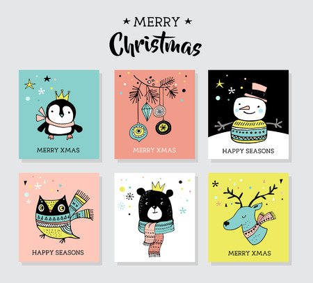 scandinavian christmas: Christmas hand drawn cute doodles, illustrations and greeting cards with penguin, bear, deer Illustration