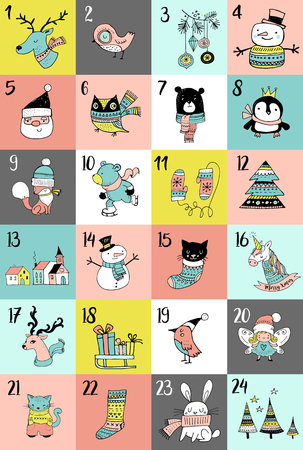 advent calendar: Merry Christmas hand drawn cute doodles, Advent calendar. Christmas poster with animals and characters Illustration