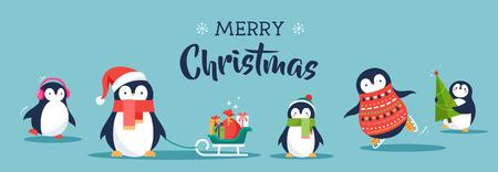 Cute penguins set of illustrations - Merry Christmas greetings Vettoriali