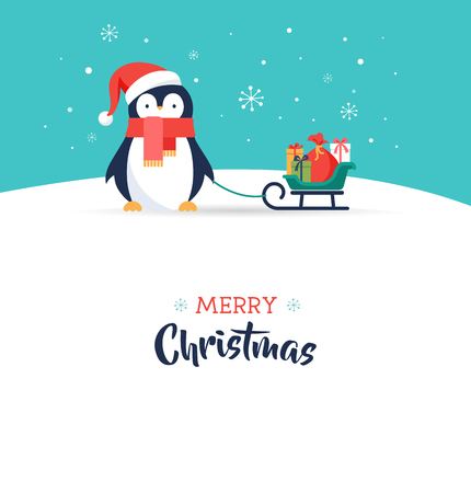 Cute penguin - Merry Christmas greeting card Illustration