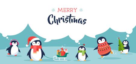 Cute penguins set of illustrations - Merry Christmas greetings Illustration