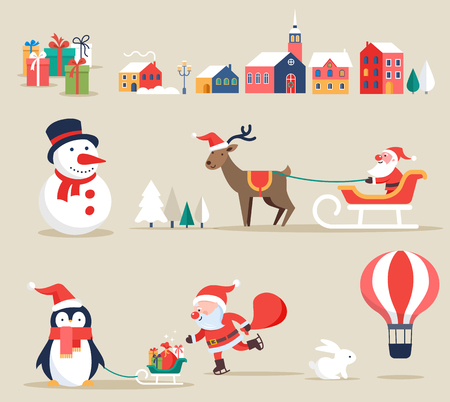retro christmas: Christmas retro icons, elements and illustrations