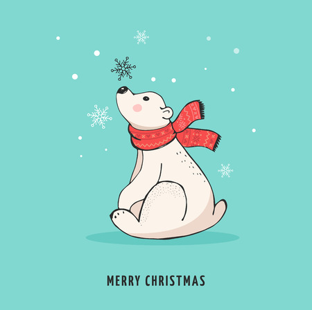 Hand drawn polar bear, cute bear set, mother and baby bears, couple of bears. Merry Christmas greetings with bears Illustration