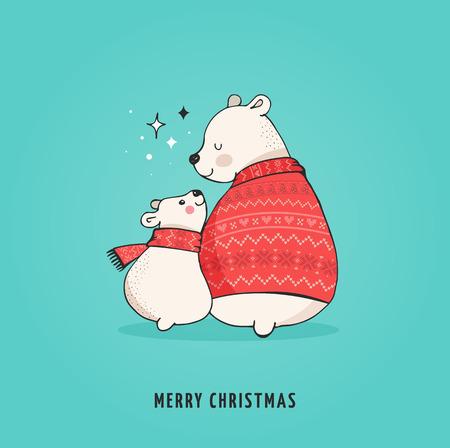 Hand drawn polar bear, cute bear set, mother and baby bears, couple of bears. Merry Christmas greetings with bears Vettoriali