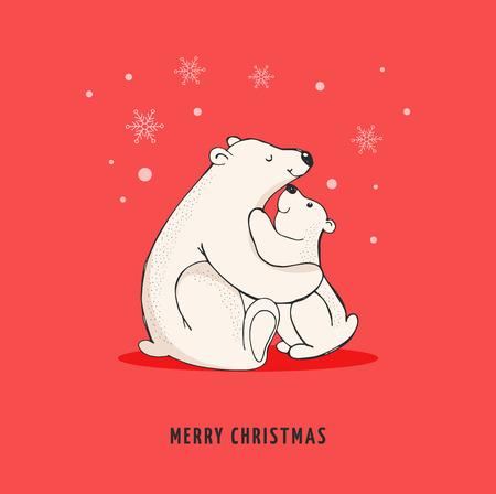 baby animal: Hand drawn polar bear, cute bear set, mother and baby bears, couple of bears. Merry Christmas greetings with bears Illustration