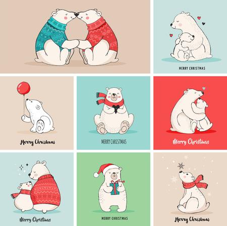 Hand drawn polar bear, cute bear set, mother and baby bears, couple of bears. Merry Christmas greetings with bears  イラスト・ベクター素材