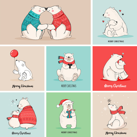 Hand drawn polar bear, cute bear set, mother and baby bears, couple of bears. Merry Christmas greetings with bears Illustration