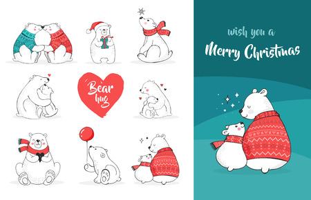곰 메리 크리스마스 인사말. 손 북극곰, 귀여운 곰 세트, 엄마와 아기 곰, 그린 곰의 커플 일러스트