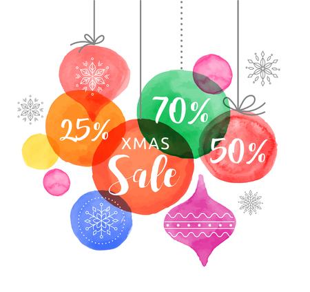 christmas sale: Christmas backgound with Christmas balls, watercolor vibrant colors Christmas decoration, Merry Christmas Sale poster Illustration