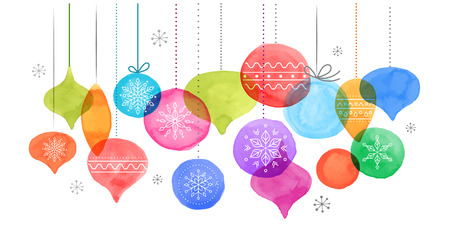 Christmas backgound with Christmas balls, vibrant watercolor Christmas decoration, Merry Christmas greeting card