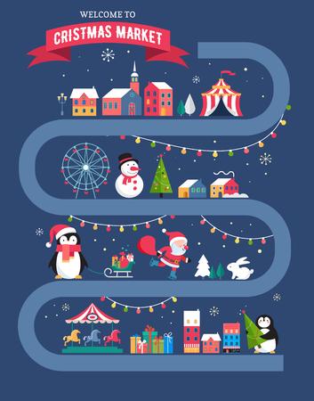 Christmas village map, winter town, Christmas market, Xmas fair, Christmas poster. Merry Christmas background Illustration