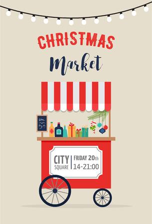 christmas market: Christmas village, winter town, Christmas market, Xmas fair, Christmas poster. Merry Christmas background