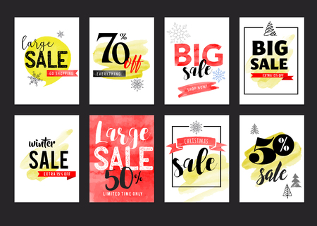 price tag: Sale icons, tags, labels and mobile theme. Christmas sale colorful watercolor vector backgrounds, poster design