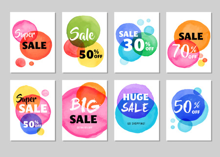 bargain for: Sale icons, tags, labels and mobile theme. Colorful vibrant overlay watercolor vector backgrounds, poster design