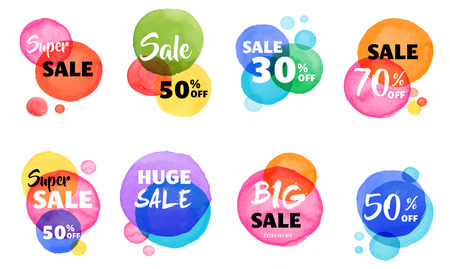 Sale icons, tags, labels and mobile theme. Colorful vibrant overlay watercolor vector backgrounds, poster design