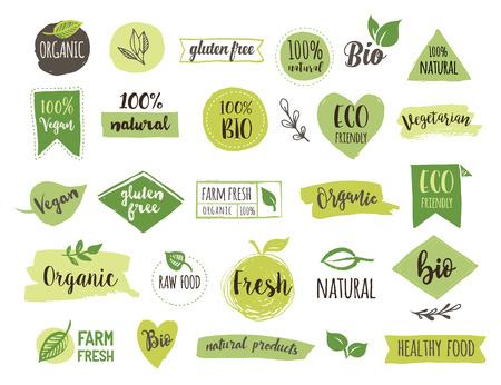 Bio, Ökologie, Bio-Logos und Icons, Etiketten, Aufkleber. Hand gezeichnet Bio gesunde Lebensmittel Abzeichen, Satz roh, vegan, gesunde Lebensmittel Zeichen, organische und Elemente gesetzt