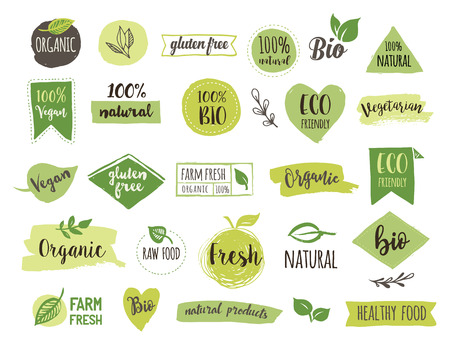 Bio, Ecology, Organic logos and icons, labels, tags. Hand drawn bio healthy food badges, set of raw, vegan, healthy food signs, organic and elements set Фото со стока - 66190132
