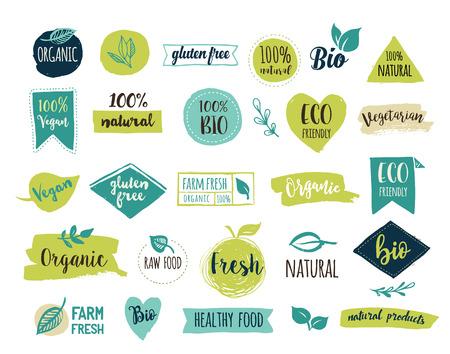 Bio, Ecologia, loghi organici e icone, etichette, cartellini. Mano bio disegnato distintivi sani da cucina, apparecchio di materie prime, vegan, segni cibo sano, biologico e insieme di elementi