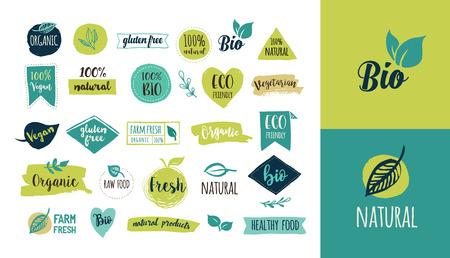 Bio, Ecología, logotipos orgánicos e iconos, etiquetas, etiquetas. Mano dibujado bio insignias de alimentos saludables, conjunto de crudo, vegano, muestras de alimentos sanos, orgánicos y elementos fijados