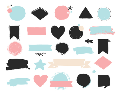 Fashion patch badges and stickers, labes and sale tags. Gold hearts, speech bubbles, stars and other elements. Vector element, backgrounds. Set of stickers, pins, patches, chic style Ilustração