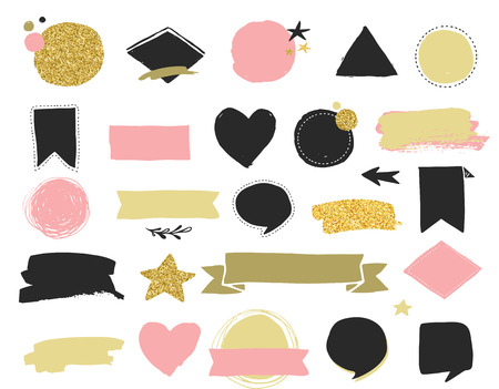 fashion style: Fashion patch badges and stickers, labes and sale tags. Gold hearts, speech bubbles, stars and other elements. Vector element, backgrounds. Set of stickers, pins, patches, chic style Illustration