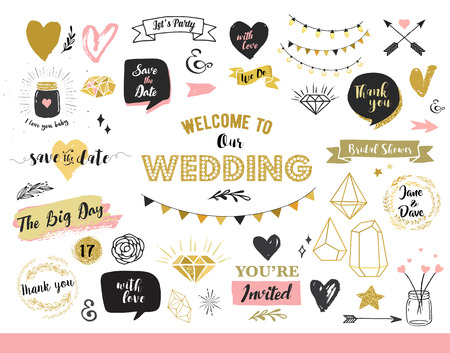 pink banner: Chic Wedding Party glitter greeting cards and invitations. Gold hearts, speech bubbles, stars and other elements. Vector element, backgrounds. Gold, pink and blue sparkle, chic style