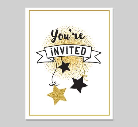 Chic Partei glitzern Grußkarte und Einladung. Gold Herzen, Sprechblasen, Sterne und andere Elemente. Vektor-Element, Hintergründe. Gold, rosa und blau funkelt, schicker Stil