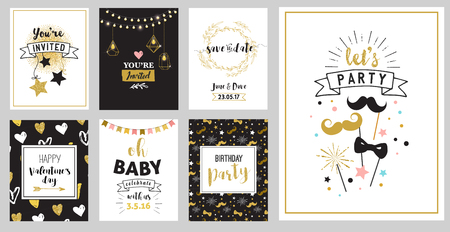 gold string: Chick Party glitter greeting cards and invitations. Gold hearts, speech bubbles, stars and other elements. Vector element, backgrounds. Gold, pink and blue sparkle, chic style