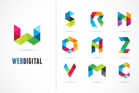 Creative, digital letter colorful icons, element and symbol, logo template. W, S, O, A, Z, N, M, C Illustration
