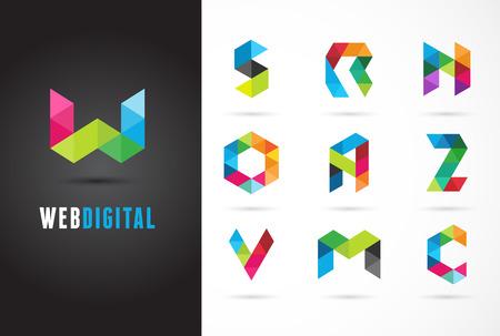 Creatief, digitale brief kleurrijke pictogrammen, element en symbool, logo template. W, S, O, A, Z, N, M, C Logo