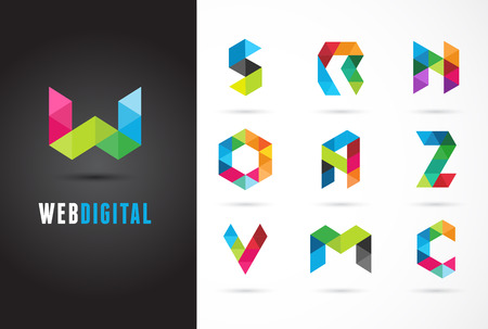 Creative, digital letter colorful icons, element and symbol, logo template. W, S, O, A, Z, N, M, C Logo