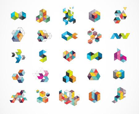 Creativo, digital abstracta iconos de colores, elementos y símbolos, colección de logotipos, plantilla