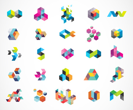 Creative, digital abstract colorful icons, elements and symbols, logo collection, template
