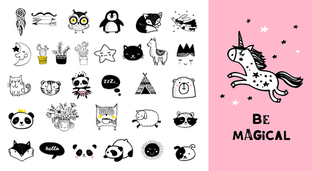 Scandinavian style, simple design, clean and cute black, white illustrations, collection Vettoriali
