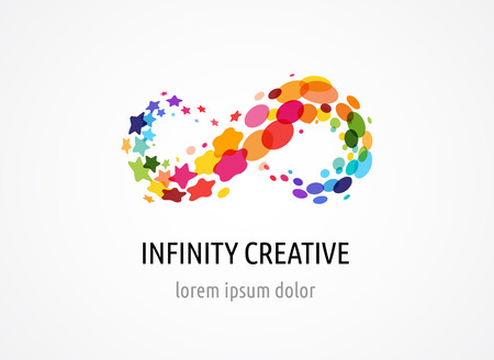 Creative, digital abstract colorful icon of infinity, endless symbol, elements Stock Photo