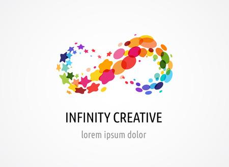 Creativo, extracto digital colorido del icono del infinito, símbolo sin fin, los elementos