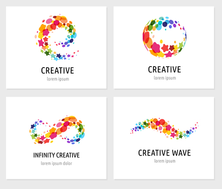 symbols: Creative, digital abstract colorful icons, elements and symbols