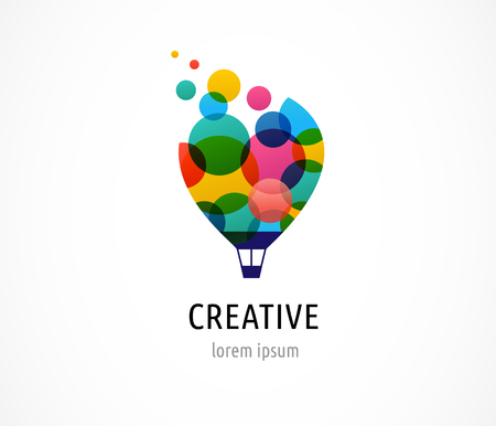 mind set: Creative, digital abstract and children style colorful icon of hot air balloon with colorful happy icons, symbols
